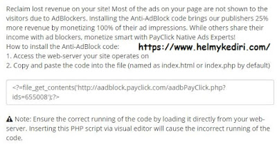 Cara pasang script anti adblock