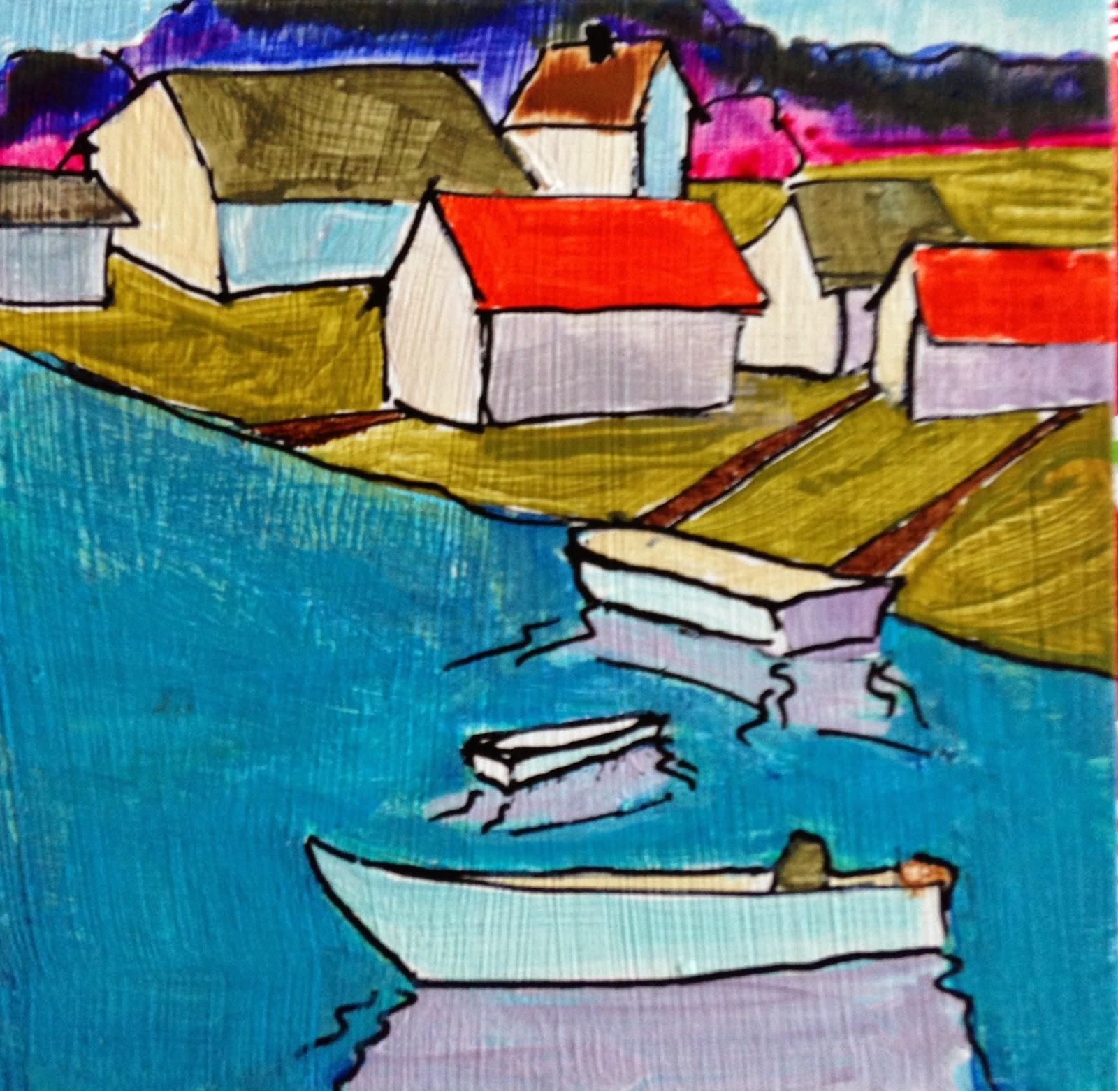 Kelley MacDonald's Paintings: Fish Town, 4x4 Inch Acrylic