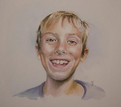 Retrato en Acuarela de un niño.