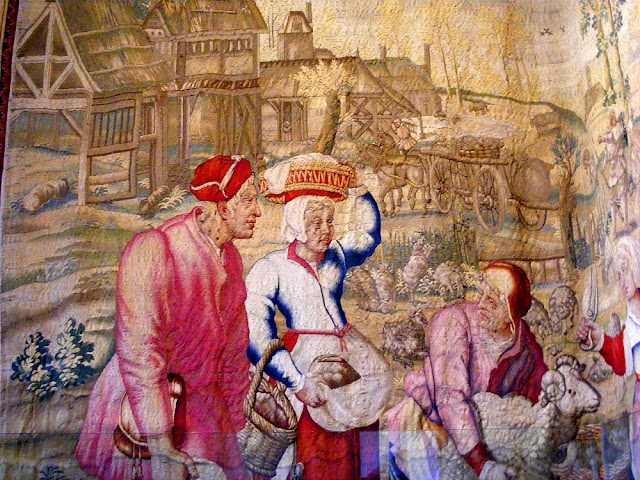 Detail of the Months of Lucas tapestry for June, Chateau of Chenonceau. Indre et Loire. France. Photo by Loire Valley Time Travel.