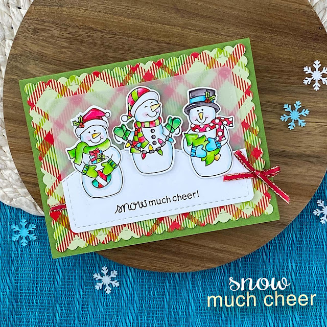 Snowman Christmas Card by Jennifer Jackson | Snow Much Cheer Stamp Set, Meowy Christmas Paper Pad, Frames & Flags Die Set, and Land Borders Die Set by Newton's Nook Designs