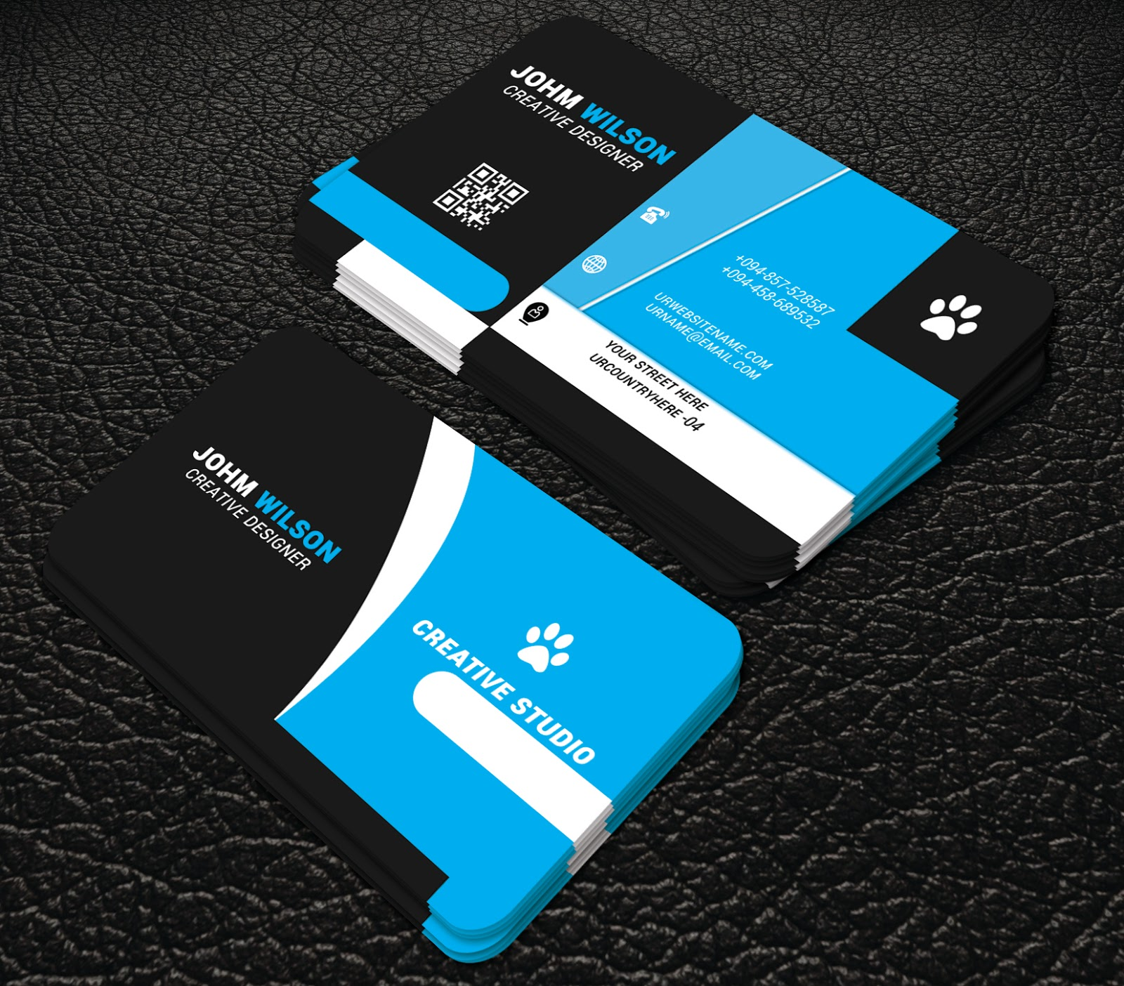Blue colour creative business cards professional business card blue colour creative business cards wajeb Gallery