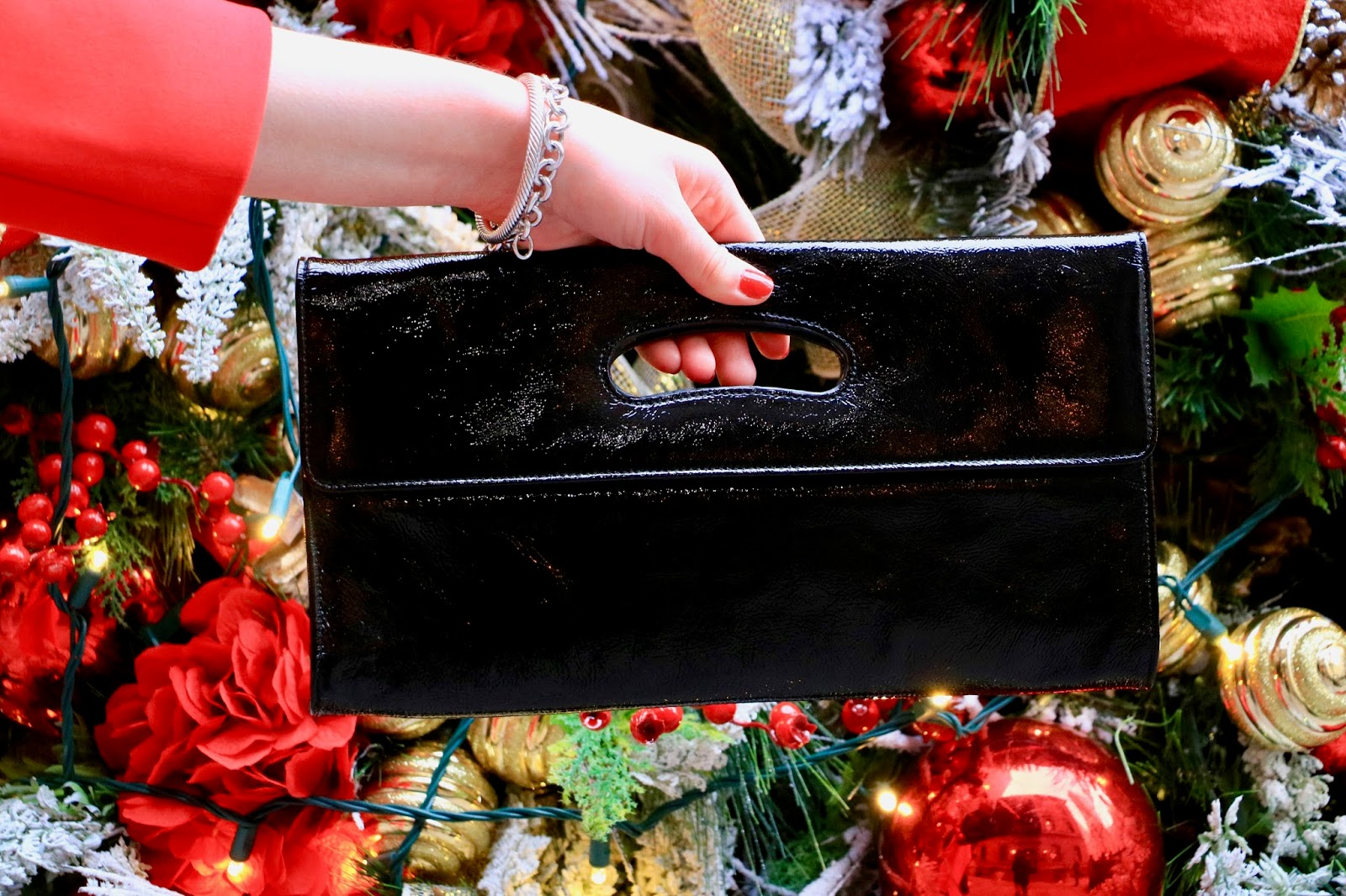 black patent leather clutch pics