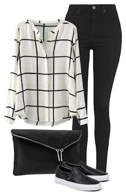 kemeja longgar hitam putih, celana jeans hitam