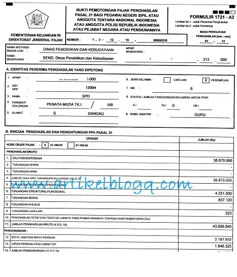 gambar Contoh Formulir 1721-A2 Terbaru 2016