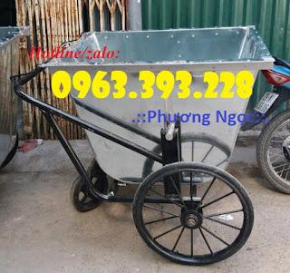 Xe gom rác tôn 400L, xe chở rác bằng tôn, xe đẩy rác 3 bánh Xe-gom-rac-400l