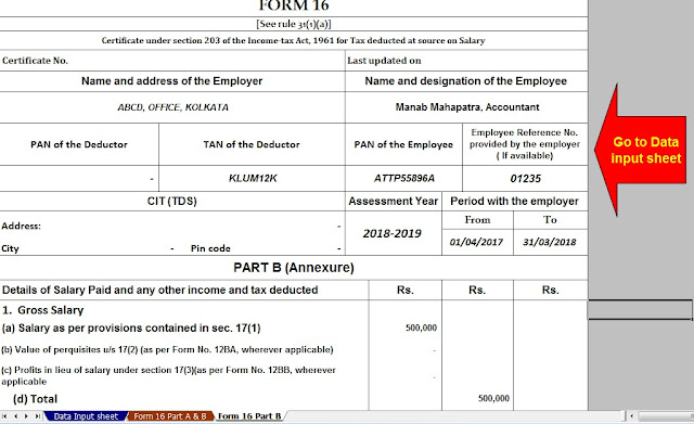 Download Automated Revised Excel Based Income Tax Salary Certificate Form 16 Part B for the F.Y. 2019-20 8