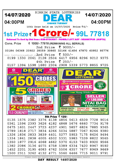 Sikkim State Lotteries 14-07-2020 Lottery Sambad Result 04:00 PM