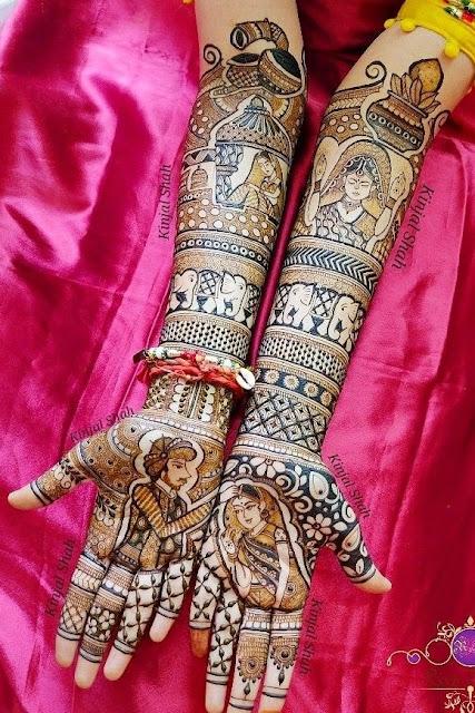 bridal mehndi design with dulha dulhan