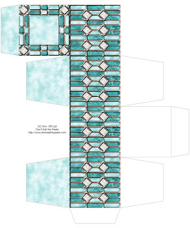 Leaded glass printable box in 4 colors