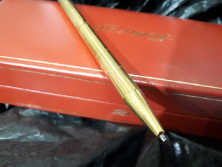 Pulpen Mewah S.T. Dupont Seri 5D4NF56 18k Gold Plated Original With Dupont Red Box