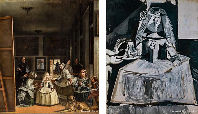 As Meninas, de Velázquez (esq) e o estudo de Pablo Picasso para a recriação do quadro