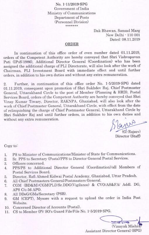 Additional Charge of PLI Directorate to Shri Vishvapavan Pati