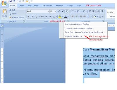 Cara Menampilkan Menu Toolbar MS Word yang Hilang
