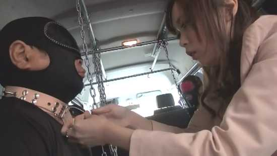 japanese mistress with slave in a minivan. slave chained inside car. mistress locking his collar. yapoo market venus semidocumentary YMVD 006