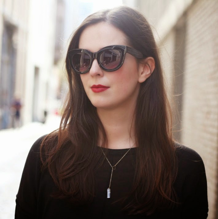 cat eye sunglasses red lipstick quartz necklace