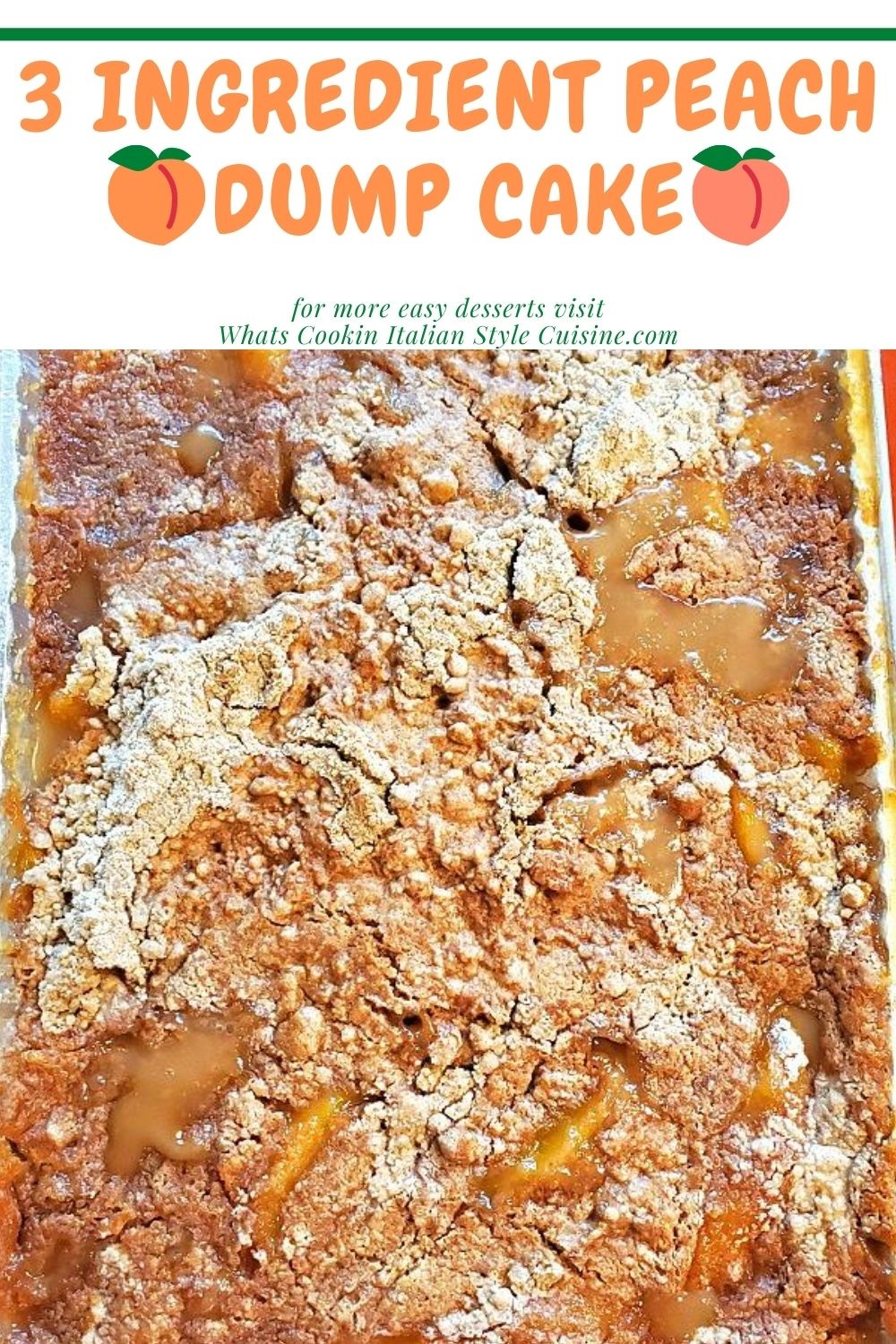 pin for later on how to make dump cake with 3 ingredients