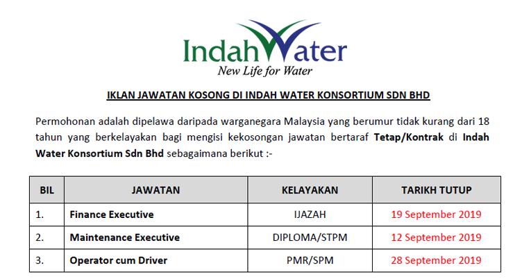 Jawatan Kosong Kerani Di Indah Water Konsortium Sdn Bhd Mohon Sebelum 14 Ogos 2020 Mingguan Kerja