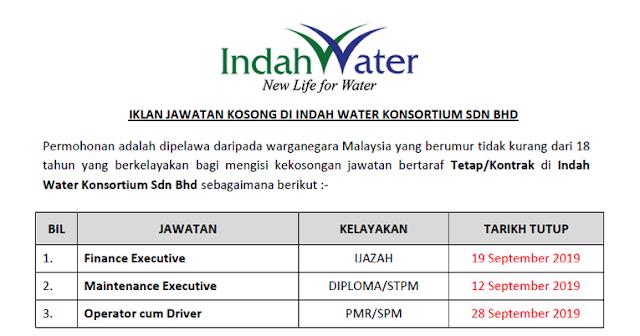 jawatan indah water 2019 baru