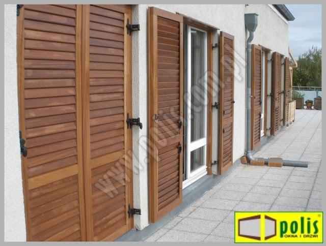 okiennice z ruchomymi lamelami, okiennice drewniane,