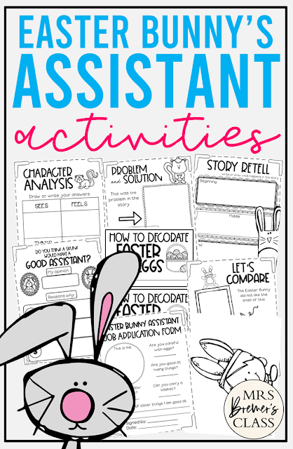 The Easter Bunnys Assistant book study unit with Common Core companion activities and a craftivity for Kindergarten and First Grade