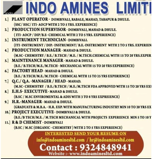 Indo Amines Limited Maintenance R and D Project  Factory Head Instrument QA  QC Production Plant Operator  Apply Now