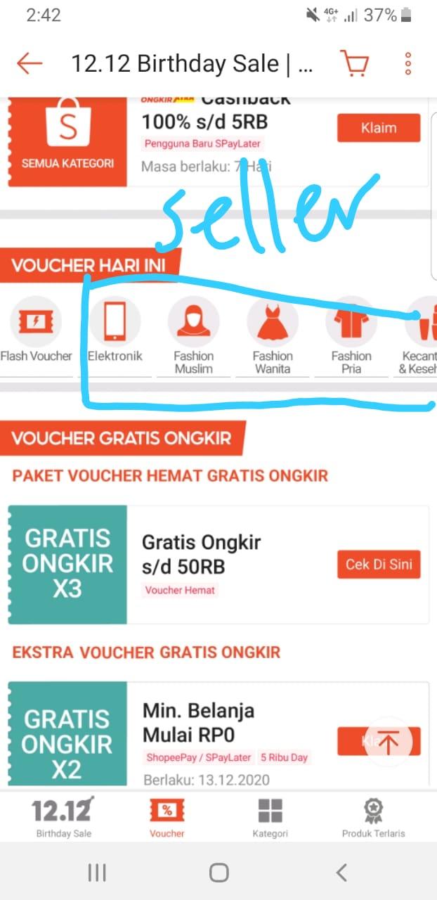daftar kategori produk voucher oleh seller di Shopee
