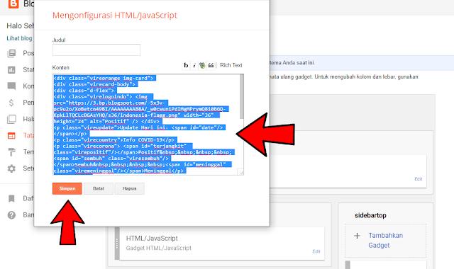 Cara Menambahkan Widget Info Covid-19 di Blogger