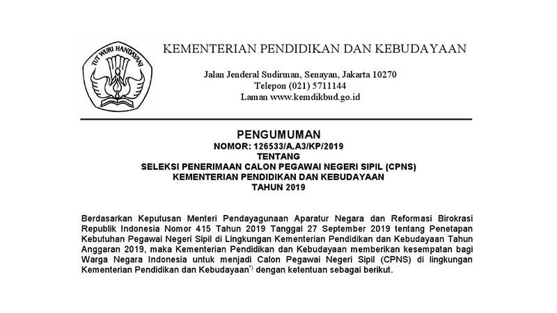 Penerimaan CPNS Kementerian Pendidikan dan Kebudayaan