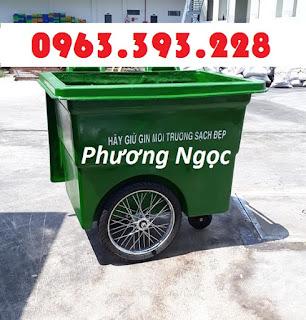 Xe thu gom rác 3 bánh hơi, xe rác nhựa 660 lít, xe rác 660L 3 bánh xe, xe rác đẩy tay