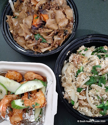 Thai Fresh drunken noodles, fried rice, shrimp