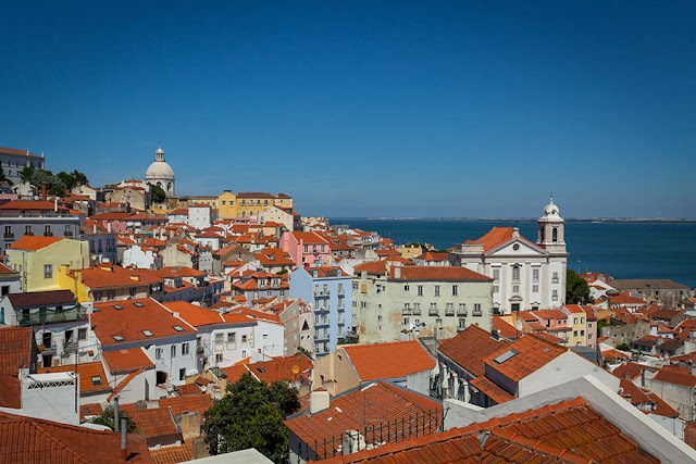 View of the rooftops of Alfama, the old district of Lisbon, Portugal