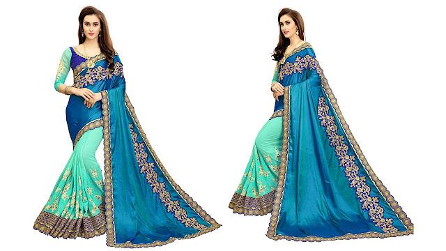 Zofey Embroidered Fashion Georgette, Net Saree  (Blue, Green)