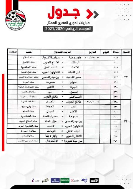 جدول مباريات الأسبوع 33 والأسبوع الأخير من الدورى المصرى الممتاز 2021