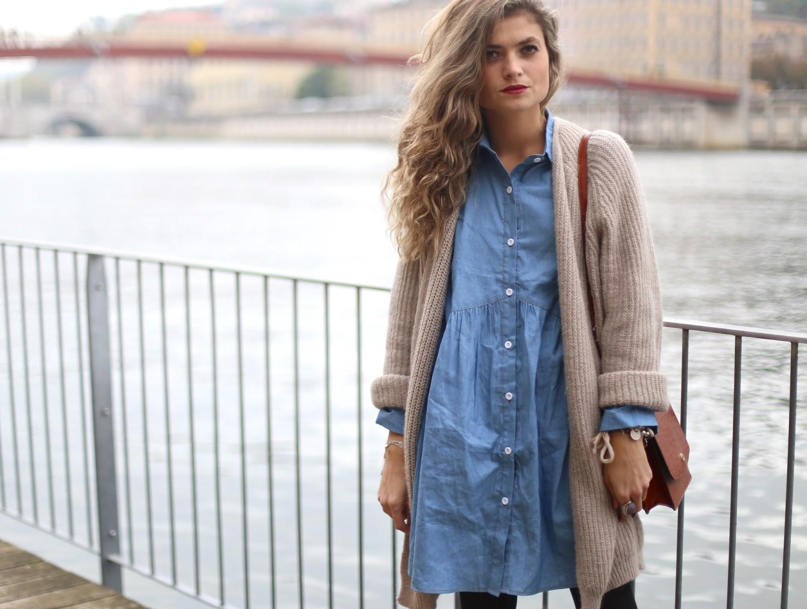 f02eb8572e640 Robe en jeans et gilet oversize - Marie and Mood