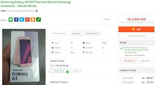 Harga baru Samsung Galaxy A3 (2017) di Indonesia sudah turun menjadi Rp 2.600.000, Garansi Resmi SEIN di Tokopedia - HeripShop