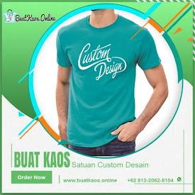 Buat Kaos Satuan Custom Desain Online Disini <price>Rp120.000</price> <code>#1KaosCustom</code>