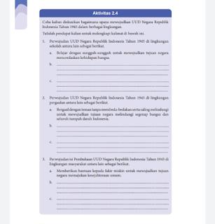 Soal dan Jawaban Aktivitas 2.4 Upaya Mewujudkan UUD Negara RI Tahun 1945 dalam berbagai Lingkungan,PKN Kelas 8