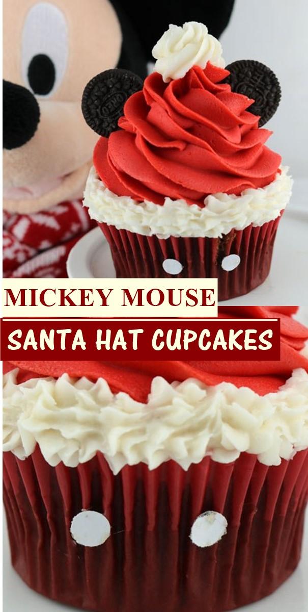 MICKEY MOUSE SANTA HAT CUPCAKES #cupcakerecipes
