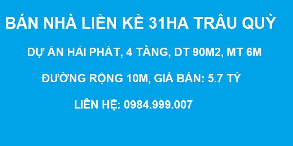 Bán nhà liền kề Thuận An, Hải Phát, Trâu Quỳ, Gia Lâm, Nhà 4 tầng, DT 90m2, MT 6m