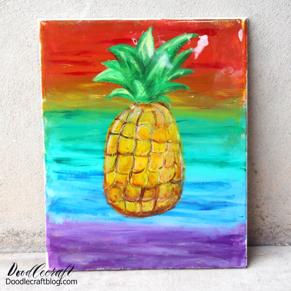 Pineapple Painted Canvas with High Gloss Resin