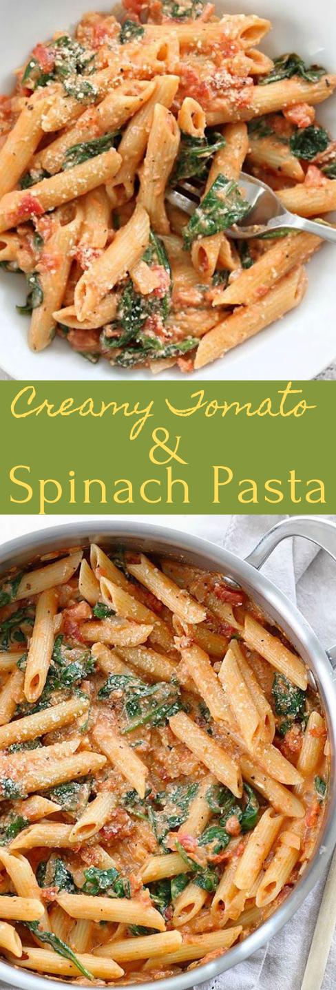 CREAMY TOMATO AND SPINACH PASTA #tomato #pasta