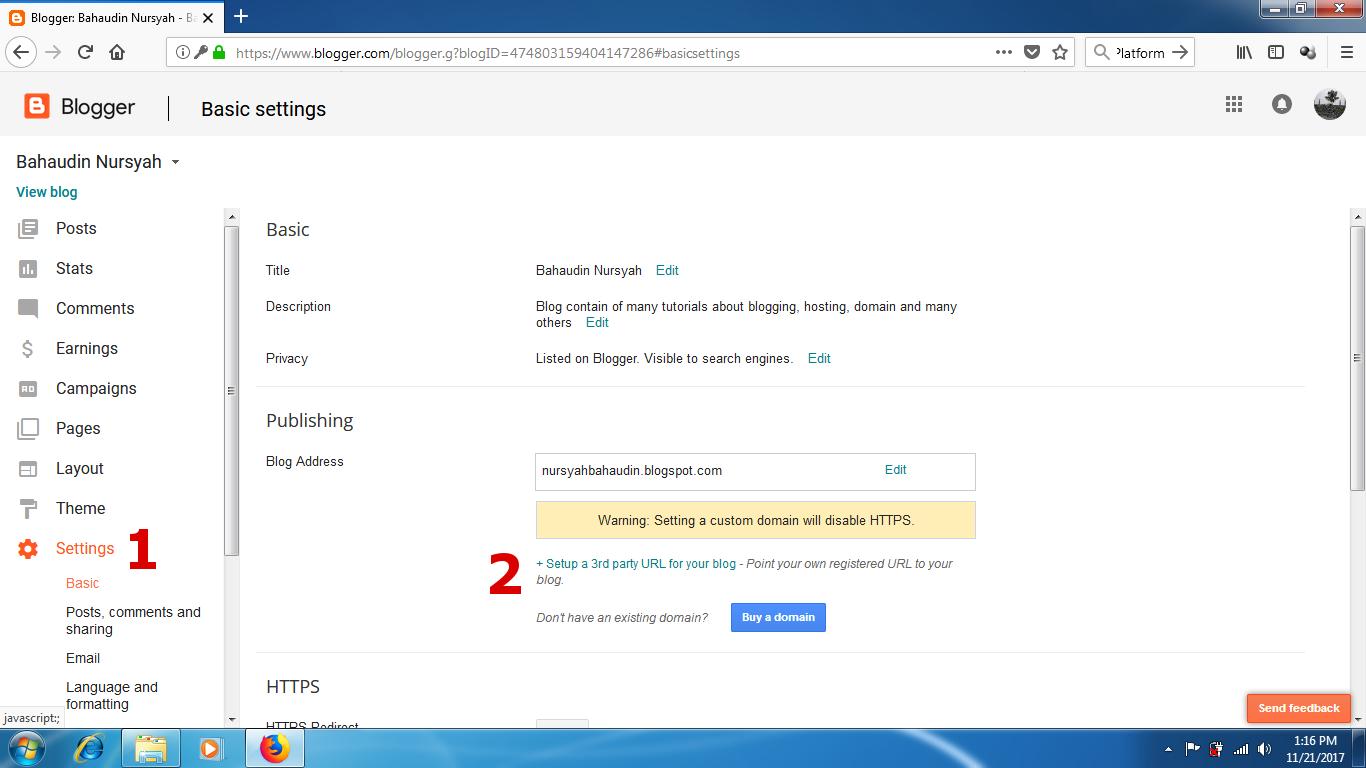 How To Setup Custom Domain for Blogger Platform Blog