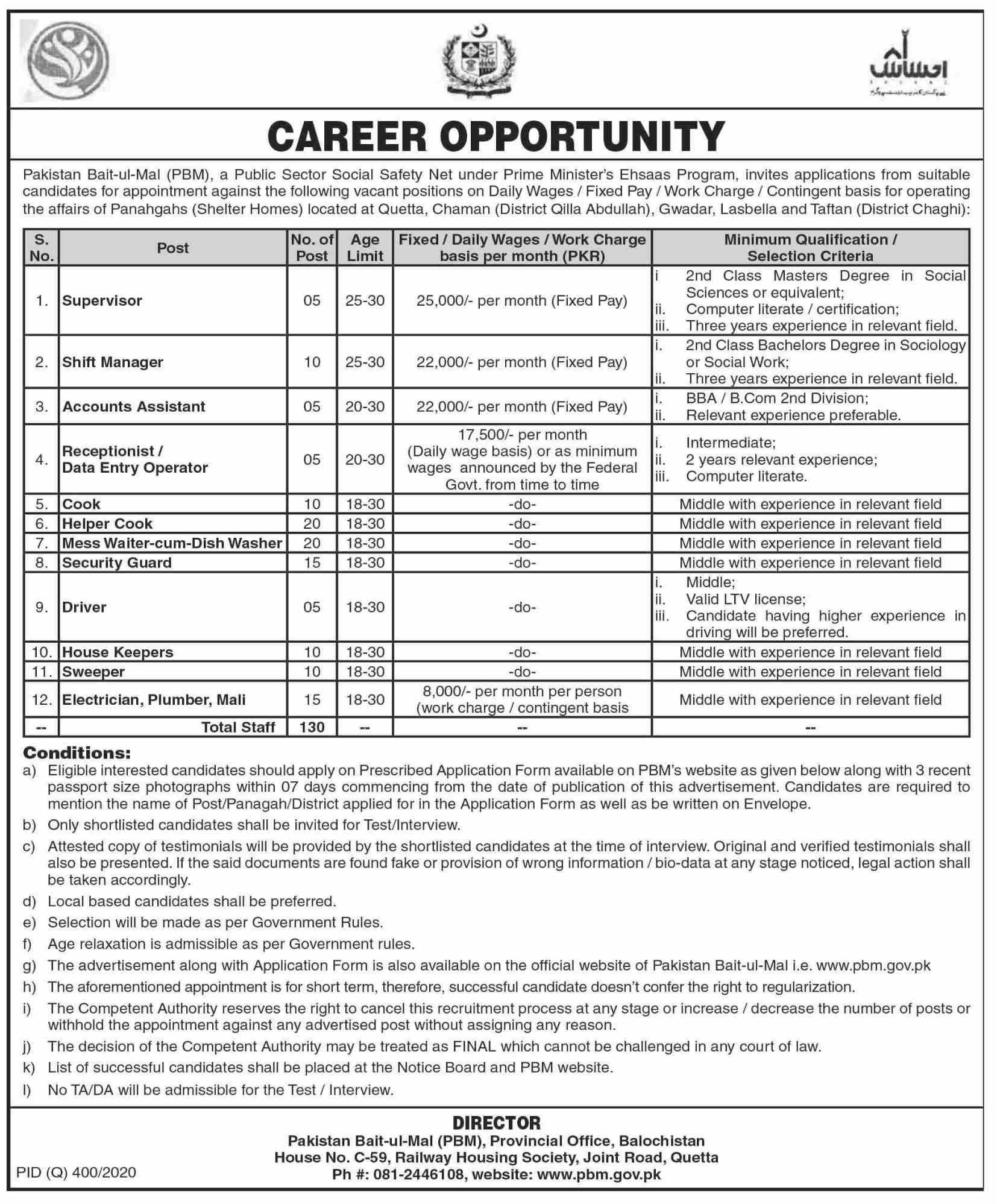 Pakistan Bait ul Mal November 2020 Jobs in Pakistan 2020 - Download Job Application Form - www.pbm.gov.pk