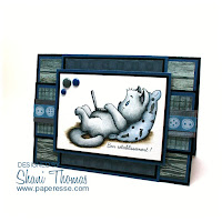 Masculine Get Well card featuring free Sliekje Lazy Laptop Cat digi, by Paperesse.