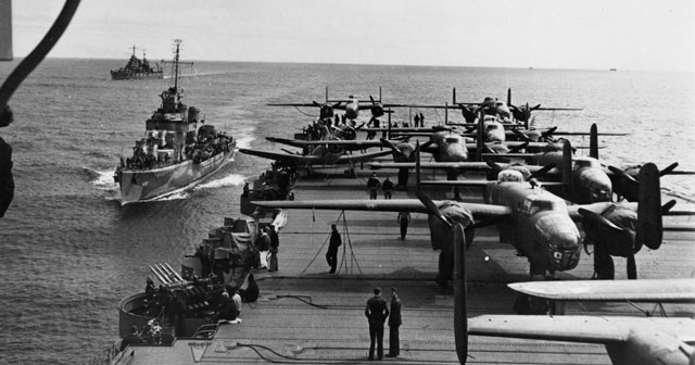 B-25s on the deck of USS Hornet as it leaves San Francisco Bay, 2 April 1942 worldwartwo.filminspector.com
