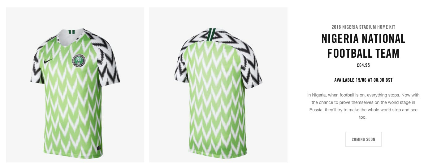 bdf0ab12d2f Nike to Restock Full Nigeria 2018 World Cup Collection - Footy Headlines