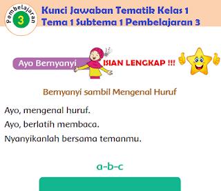 Kunci Jawaban Tematik Kelas 1 Tema 1 Subtema 1 Pembelajaran 3 www.jokowidodo-marufamin.com