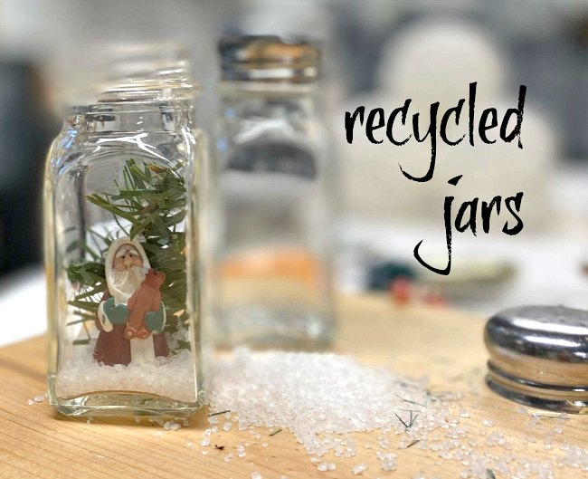 Recycled jar snow globe ornaments for Christmas