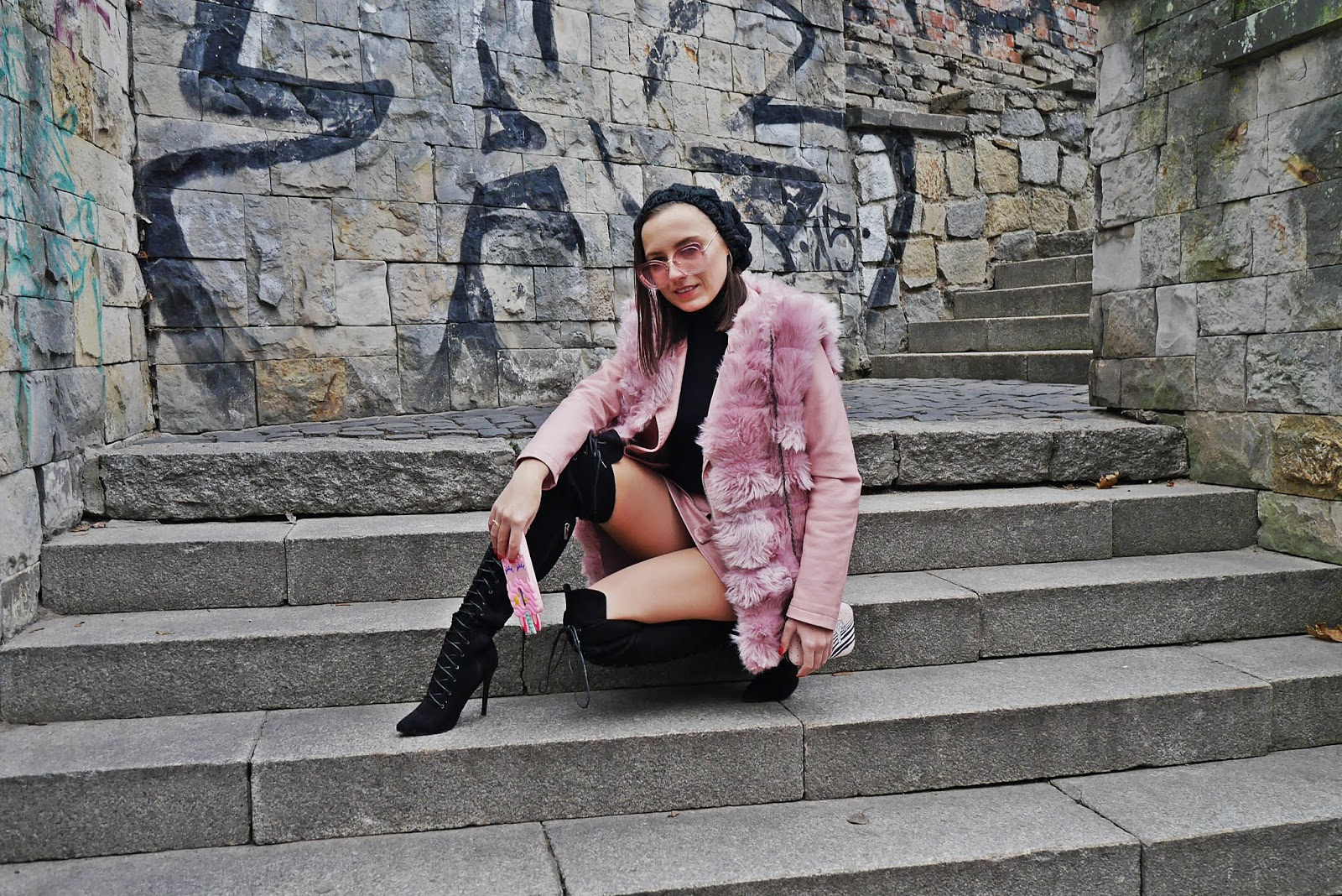 fur west jacket high knee boots turtleneck sweater karyn fashion blogger ootd outfit look